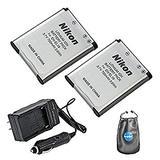 Amsahr S-ENEL19-2CT, Pack-2, Digital Replacement Battery Plus Travel Charger for Nikon EN-EL19, Coolpix - Includes Lens Accessories Pouch (Gray)