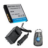 Amsahr S-FE1 Digital Replacement Battery PLUS Battery Travel Charger for Sony NPFE1, Cyber-Shot with Lens Accessories Pouch (Gray)