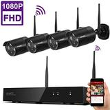 xmartO 1080p HD Wireless Surveillance Camera System 4CH NVR with 4X 1080p Full HD 2.0MP Wireless Outdoor IP Cameras, Auto-Pair, NVR with Built-in WiFi Router, Dream Liner WiFi Relay, Audio Support