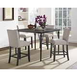 Roundhill Furniture Biony 5-Piece Espresso Wood Counter Height Dining Set with Tan Fabric Nail head Chairs,