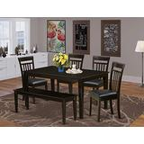 East West Furniture Dining Room Table Set 6 Piece - PU Leather Dining Chairs Seat - Cappuccino Finish Small Dining Table and Dining Bench