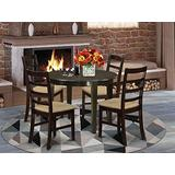 East West Furniture BOPF5-CAP-C Dining Set 5 Piece - Cappuccino Color Linen Fabric Dining Room Chairs Seat - Cappuccino Finish Modern Dining Table and Structure