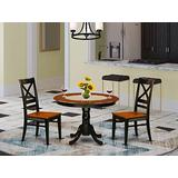 3 Pc set with a Round Dinette Table and 2 Leather Kitchen Chairs in Black and Cherry