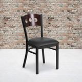 Flash Furniture 2 Pk. HERCULES Series Black 3 Circle Back Metal Restaurant Chair - Walnut Wood Back, Black Vinyl Seat