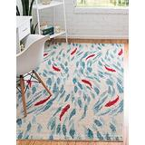 Unique Loom Positano Collection Coastal Modern Bright Colors Fish Area Rug_CAP008, 3' 3 x 5' 3, Beige/Blue