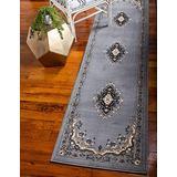 Unique Loom 3128738 2 8 feet (2' x 8') Runner Mashad Area Rug, 2 Feet 2 Inch x 8 Feet 2 Inch, Gray/Ivory