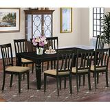 East West Furniture LGAN9-BLK-C 9-Piece Dining Room Set - Rectangular Top Dining Table - 8 Dining Room Chairs Slatted Back and Linen Fabric Seat (Black Finish)