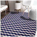 Superior 100% Cotton Area Rug, Contemporary Chevron Zig-Zag Pattern, Geometric Printed Flat Weave Cotton Rug - Blue, 8' x 10' Rug