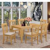 East West Furniture CANO7-OAK-C Rectangular Kitchen Table Set 7 Piece - Linen Fabric Dining Chairs Seat - Oak Finish Wood Dining Table and Frame