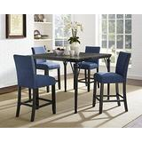 Roundhill Furniture Biony 5-Piece Espresso Wood Counter Height Dining Set with Blue Fabric Nail head Chairs,