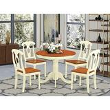 East West Furniture Dining Table Set- 4 Wonderful Wood Chairs - A Lovely Dining Room Table- Wooden Seat- Cherry and Buttermilk Dining Table