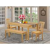 East West Furniture Wooden Dining Table Set 5 Piece - Wooden Kitchen Chairs Seat - Oak Finish Small Rectangular Dining Table and Bench