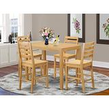 YACF5-OAK-W 5 PC counter height pub set-pub Table and 4 Kitchen Chairs.