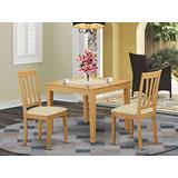 East West Furniture OXAN3-OAK-C 3-Pc Dining Set – 2 Dining Room Chairs and Dining Table - Square Table Top – Slatted Back and Linen Fabric Chair Seat (Oak Finish)
