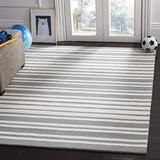 Safavieh Kids Collection SFK917C Handmade Stripe Wool Area Rug, 4' x 6', Grey / Multi