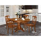 East West Furniture dining set 4 Amazing wooden dining chairs - A Gorgeous round kitchen table- Saddle Brown Color Wooden Seat Saddle Brown Butterfly Leaf round dining table