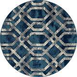 Art Carpet Bastille Collection Fretwork Border Woven Round Area Rug, 8', Blue/Gray