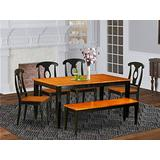 6-PC Dining room set with bench-Kitchen Tables and 4 Dining Chairs Plus bench