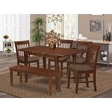 East West Furniture NOFK6C-MAH-C 6-Pc Dining Set – 4 Dining Chairs, a wooden Bench and Dining Table - Rectangular Top Table and Bench – Slatted Back and Linen Fabric Chair Seat (Mahogany Finish)