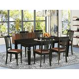 7 Pc Dining Room set with a Dining Table and 6 Leather Dining Chairs in Black