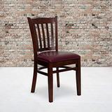 Flash Furniture 2 Pk. HERCULES Series Vertical Slat Back Mahogany Wood Restaurant Chair - Burgundy Vinyl Seat