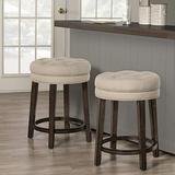 Hillsdale Krauss Backless Swivel Counter Stool, Charcoal Gray Finish with Linen Stone Fabric