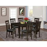 East West Furniture Dining Room Table Set 7 Pc - PU Leather Kitchen Dining Chairs Seat - Cappuccino Finish Wood Dining Table and Structure