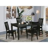 East West Furniture 5-Pc Dining Room Set Included a Rectangular Dining Table and 4 Wooden Dining Room Chairs - Solid Wood Dining Chairs Seat & Slatted Back - Black Finish