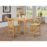 YACF3-OAK-C 3 PC counter height set - counter height Table and 2 dinette Chairs.