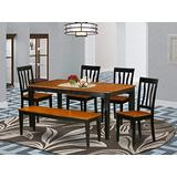 6 PC Kitchen Table set-Dining Table and 4 Dining Chairs plus a bench