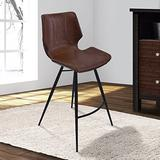 """Armen Living Zurich 30"""" Bar Height Barstool in Vintage Coffee Faux Leather and Black Metal Finish"""