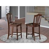 East West Furniture Chelsea Stools 24 inches counter height chairs-Wooden Seat and Mahogany Solid wood Structure counter height chairs set of 2