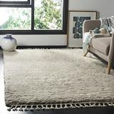 Safavieh Casablanca Shag Collection CSB150D Hand-Knotted Tassel Premium New Zealand Wool 1.8-inch Thick Area Rug, 5' x 8', Grey