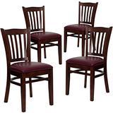 Flash Furniture 4 Pk. HERCULES Series Vertical Slat Back Mahogany Wood Restaurant Chair - Burgundy Vinyl Seat