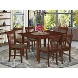 East West Furniture MLNO7-MAH-C 7-Pc Dining Set – 6 Dining Room Chairs and Dining Table - Rectangular Table Top – Slatted Back and Linen Fabric Chair Seat (Mahogany Finish)