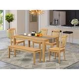 East West Furniture Small Kitchen Table Set 6 Pc - Wooden Kitchen Chairs Seat - Oak Finish Wood Dining Table and Bench