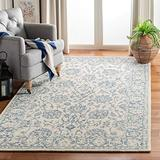 Safavieh Blossom Collection BLM351A Hand-Hooked Premium Wool Area Rug, 6' x 6' Square, Ivory / Blue