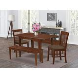 East West Furniture NOFK5C-MAH-C 5-Pc Dining Set – 2 Dining Room Chairs, 2 Dining Bench and Dining Table - Rectangular Top Table and Bench – Slatted Back and Linen Fabric Chair Seat (Mahogany Finish)