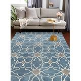 Bashian Chelsea collection ST261 hand tufted 100% wool area rug, 3.6' x 5.6', Azure