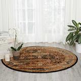 "Nourison Delano Traditional Oriental Persian Black/Blue Area Rug, 5'3"" x 5'3"" Round"