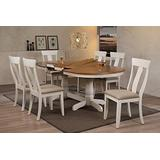 """Iconic Furniture Company Oval Upholstered Panel Back 7 Piece Dining Set, 42""""x66""""x78""""x90, Antique Caramel Biscotti"""
