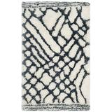 Safavieh Toronto Shag Collection SGT722K Handmade Moroccan 1.25-inch Thick Area Rug, 3' x 5', Ivory / Blue
