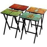 ORIENTAL Furniture Vineyards of France TV Tray Set with Stand