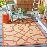"""Safavieh Martha Stewart Collection MSR4121J Fretwork Indoor/ Outdoor Area Rug, 2'7"""" x 5', Beige / Terracotta"""