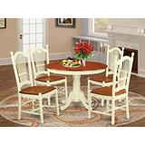 East West Furniture 5-Pc Modern Dining Set Included a Round Dining Room Table and 4 Dining Room Chairs - Cherry Solid Wood Modern Dining Chairs Seat & Slatted Back - Buttermilk Finish
