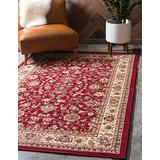 Unique Loom Kashan Collection Traditional Floral Overall Pattern with Border Burgundy Area Rug (4' 0 x 6' 0)
