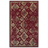 Superior Mayfair Collection Area Rug, 8mm Pile Height with Jute Backing, Vintage Distressed Medallion Pattern, Fashionable and Affordable Woven Rugs - 5' x 8' Rug, Red