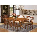 East West Furniture NANA9-SBR-C 9-Pc Dining Set – 8 Dining Room Chairs and Dining Table - Rectangular Table Top – Napoleon Back and Linen Fabric Chair Seat (Saddle Brown Finish)