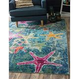 Unique Loom Positano Collection Coastal Modern Bright Colors Starfish Runner Rug_CAP001, 9' 0 x 12' 0, Navy Blue/Teal