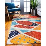 Unique Loom Positano Collection Coastal Modern Abstract Oceanic Area Rug, 5' 0 x 8' 0, Rust Red/Beige